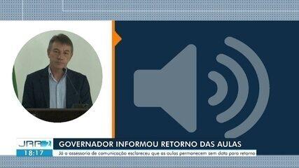 Aulas presenciais devem retornar em outubro, diz governador de RR
