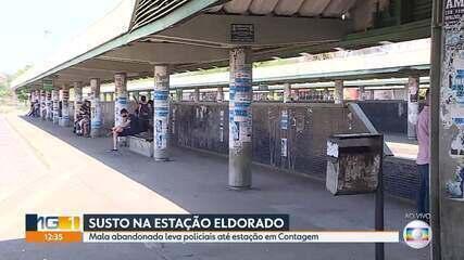 Mala abandonada leva policiais até estação de metrô, em Contagem