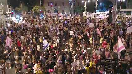 Manifestantes protestam em Israel contra Benjamin Netanyahu