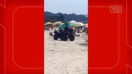 Praia de Jurerê fica cheia de banhistas, mesmo com restrições em Florianópolis