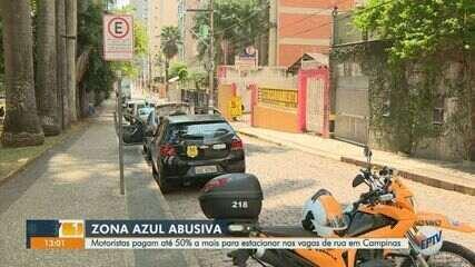 Motoristas pagam acima do valor oficial para estacionar em vagas de ruas de Campinas