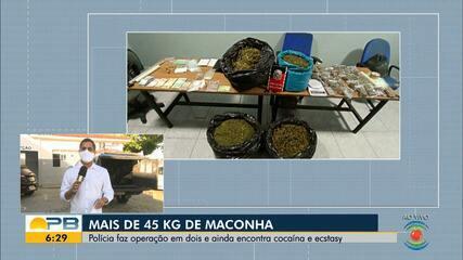 Polícia faz operação e apreende mais de 45kg de maconha, em Campina Grande