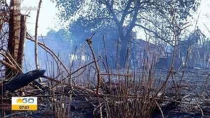 Incêndio atinge canavial em Goiatuba