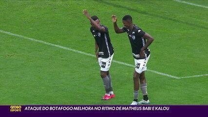 Ataque do Botafogo melhora no ritmo de Matheus Babi e Kalou