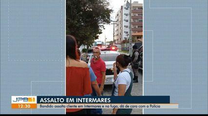 Suspeito assalta cliente e na hora da fuga, dá de cara com a polícia em Intermares, na PB