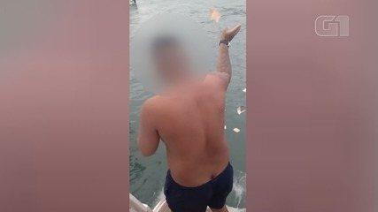 Participante de festa em barcos de luxo ostenta e joga dinheiro no mar em SP