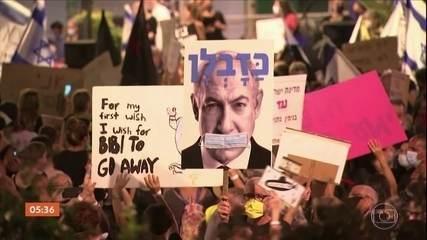 Israel: manifestantes pedem a renúncia do primeiro-ministro Benjamin Netanyahu