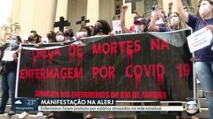 Enfermeiros terceirizados da rede estadual protestam na Alerj por falta de salários