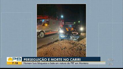 Homem morre após ferir agente e tentar fugir de bloqueios da PRF em Monteiro
