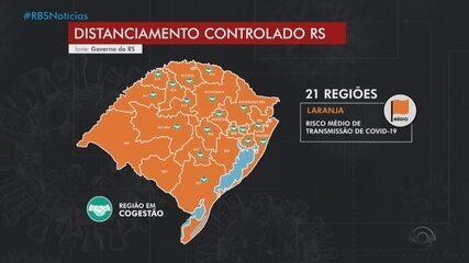Todas regiões do RS estão com bandeira laranja no mapa do distanciamento controlado