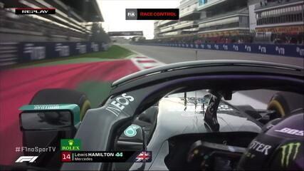 Hamilton passa do limite da pista no treino do GP da Rússia
