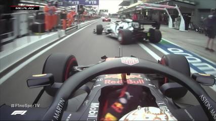 Verstappen passa Gasly dentro dos boxes no treino do GP da Rússia
