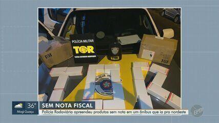 Polícia Rodoviária apreendeu produtos em ônibus interestadual em Cordeirópolis