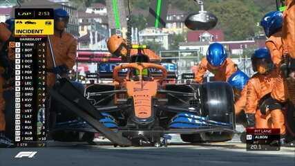 Com safety car na pista, Albon, Norris e Russel fazem pit stop juntos no GP da Rússia