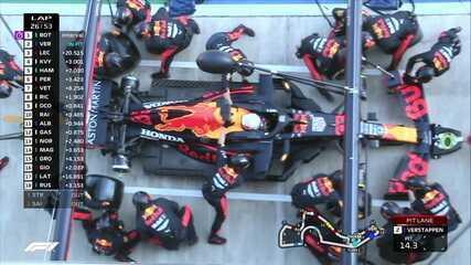 Verstappen faz pit stop de 1,9s na volta 26 do GP da Rússia