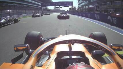 Confira a largada e o acidente do GP da Rússia pela câmera de Carlos Sainz
