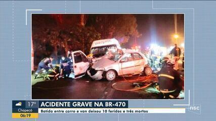 Acidente entre carro e van deixa  feridos e três mortos