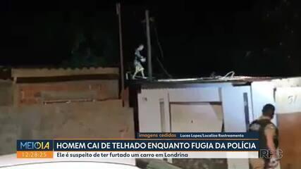 Homem cai de telhado ao tentar fugir da polícia