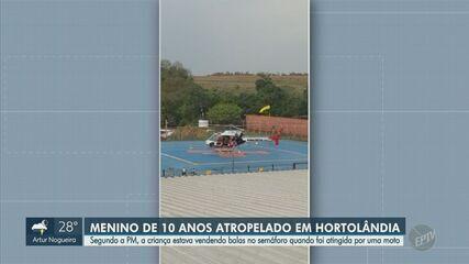 Menino é atropelado por moto em Hortolândia e socorrido em estado grave ao HC da Unicamp