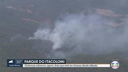 Parque do Itacolomi, em Ouro Preto, é consumido por incêndio desde sábado
