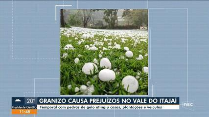 Granizo causa prejuízos no Vale do Itajaí
