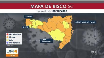 Mapa aponta que quatro regiões de SC estão em alto risco para o coronavírus