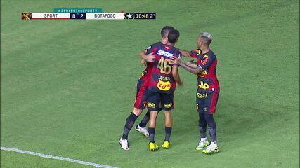 Gol do Sport! Juba cruza, e Thiago Neves, de cabeça, diminui, aos 11' do 2º Tempo