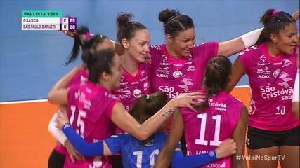 Os pontos finais de Osasco 3 x 0 São Paulo-Barueri, pelo Campeonato Paulista Feminino de Vôlei
