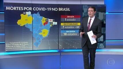 Média móvel de mortes por Covid no Brasil fica abaixo de 500 pela 1ª vez desde 7 de maio