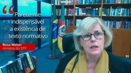'Parece-me indispensável a existência de texto normativo', diz Rosa Weber