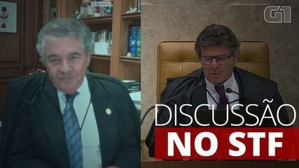 Ministro Marco Aurélio Mello se dirige a Luiz Fux, presidente do STF, durante o julgamento