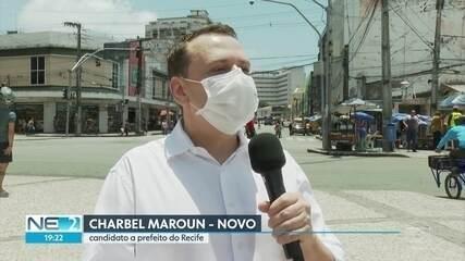 Charbel (NOVO) faz caminhada no Centro e promete revitalização