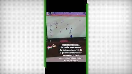 Namorada de Caio Paulista chora com primeiro gol do jogador como profissional