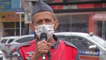 Candidato à prefeitura de Mogi das Cruzes, Miguel Bombeiro visita comerciantes e taxistas