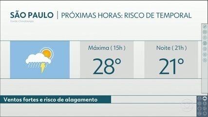 Semana começa com previsão de temporal na Grande São Paulo