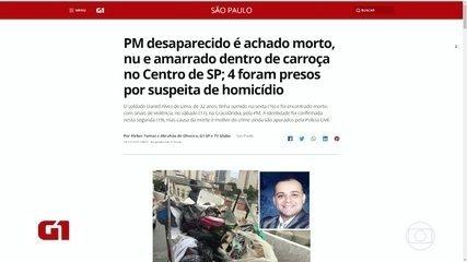 IML confirma que corpo achado dentro de uma carroça, no centro de SP, é de soldado da PM