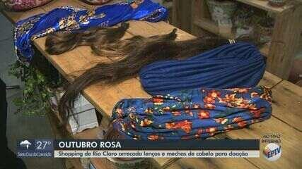 Outubro Rosa: Shopping de Rio Claro arrecada lenços e mechas de cabelos para doação