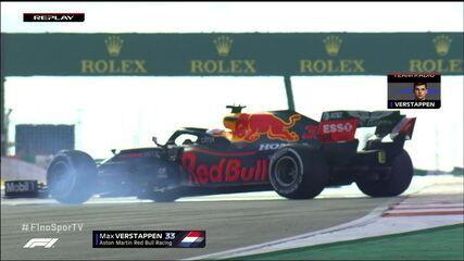Max Verstappen roda na pista em treino do GP de Portugal