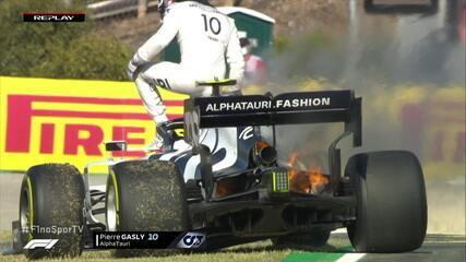 Carro de Gasly pega fogo em segundo treino do GP de Portugal