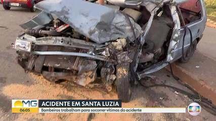 Acidente entre caminhão e carro deixou um ferido, em Santa Luzia