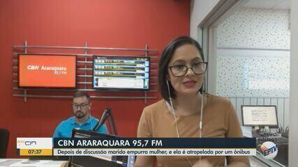 Depois de discussão marido empurra mulher e ela é atropelada por um ônibus em Araraquara
