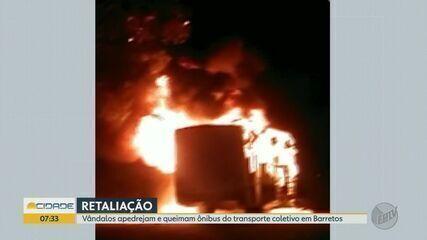 Ônibus é incendiado após morte de adolescente em Barretos, SP