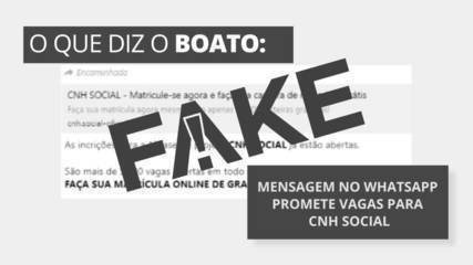 É #FAKE mensagem no WhatsApp que promete vagas para CNH Social