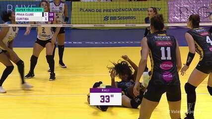 Em rali de 33 segundos, jogadoras do Praia Clube se chocam em duas oportunidades e Curitiba ganha o ponto. 10/15 no 3º set