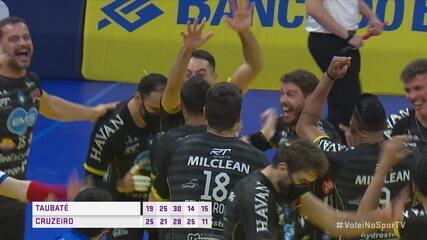 Os pontos finais de Taubaté 3 x 2 Cruzeiro pela decisão da Supercopa de Vôlei