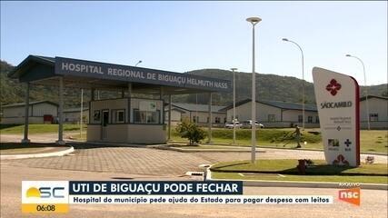 Hospital de Biguaçu pede ajuda do Estado para pagar despesa com leitos de UTI