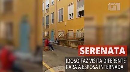 Homem faz serenata para a mulher em hospital na Itália