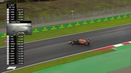 Verstappen tenta passar Pérez, mas roda de forma espetacular e perde três posições