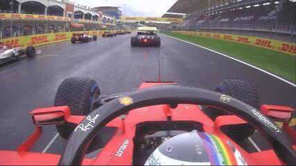 A largada de Sebastian Vettel no GP da Turquia