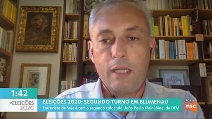 JA entrevista o segundo colocado no 1º turno de Blumenau, João Paulo Kleinübing, do DEM